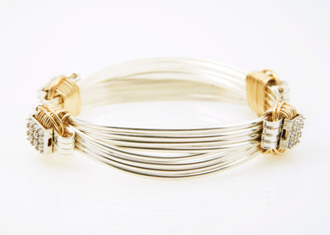 Classic Bracelet Two-Tone 4-strand with CZ