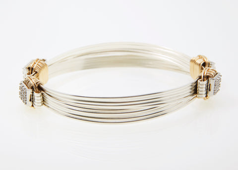 Lightweight Bracelet Two-Tone 5-strand with CZ