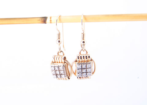 Earrings 14KT Solid Gold Dangles Small with Diamonds