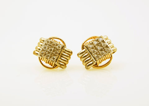 Classic, Two Tone Earrings Stud with CZ