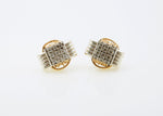 Lightweight, Two Tone Earrings Stud with CZ