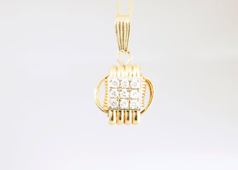 Large Pendant 14KT Solid Gold with Diamonds