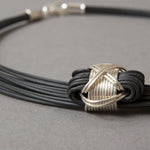 Synthetic Elephant Hair Necklace with Sterling Silver X-knots
