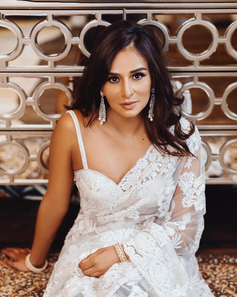 Ekta Solanki Saree and Blouse ~ White Lace Beaded Net ~ WAS £2,550 NOW £950
