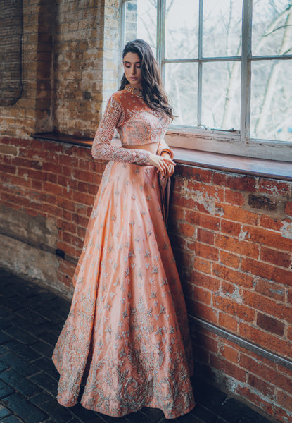 Ekta Solanki Lengha ~ Peach Raw Silk Pearl ~ WAS £4,150 NOW £1,050