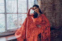 Ekta Solanki Saree and Blouse ~ Tangerine Orange Lace Beaded Net ~ WAS £2,450 NOW £900