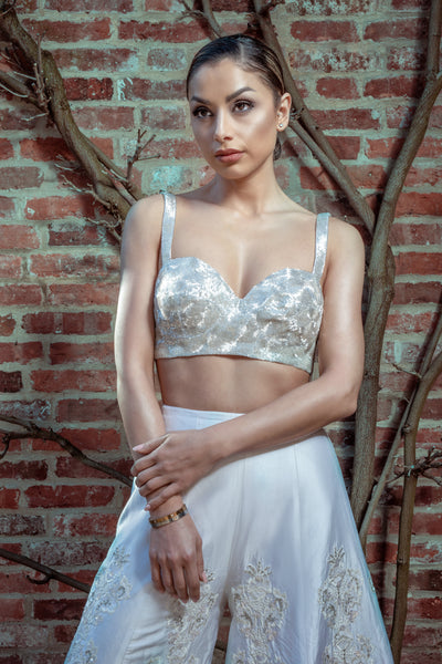 Ekta Solanki Saree Blouse ~ Silver Beaded Bralette ~ WAS £430 NOW £250
