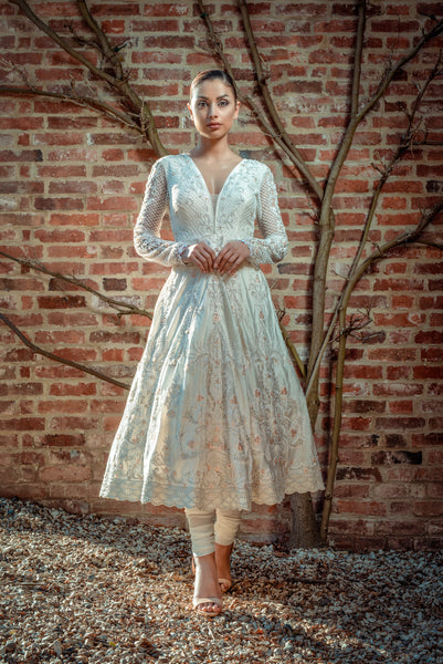 Ekta Solanki Anarkali ~ Ivory Pearl Silk Lace Applique ~ WAS £3,200 NOW £445