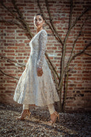 Ekta Solanki Anarkali ~ Ivory Pearl Silk Lace Applique ~ WAS £3,200 NOW £745