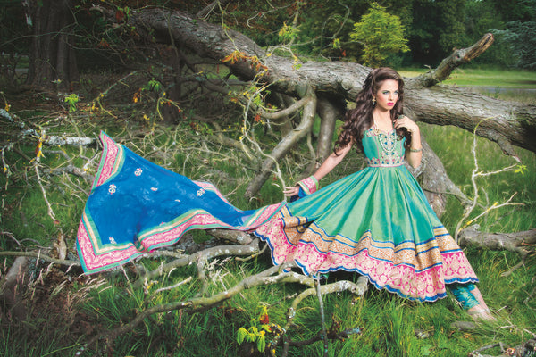 Ekta Solanki Anarkali ~ Two Tone Green Blue Beaded  ~ WAS £4,150 NOW £925