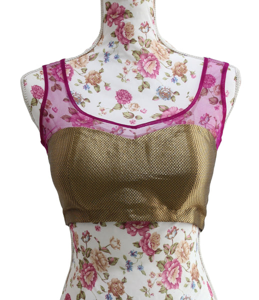 Ekta Solanki Saree Blouse ~Gold Silk Brocade Magenta Mesh ~ WAS £70 NOW £30