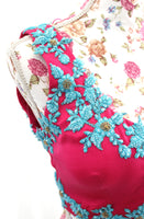 Ekta Solanki Saree Blouse ~ Fuchsia Pink Turquoise Beaded ~ WAS £260 NOW £145