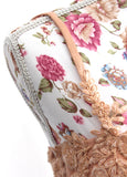 Ekta Solanki Saree Blouse ~ Peach Floral Appliqué Beaded ~ WAS £385 NOW £195