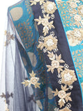 Ekta Solanki Suit ~ Sea Green and Navy Silk Banarsi  ~ WAS £550 NOW £145