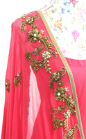 Ekta Solanki Anarkali ~ Deep Coral Antique Gold  ~ WAS £1,550 NOW £340