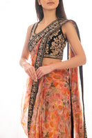 Ekta Solanki Saree and Blouse ~ Pre-stitched Organza Coral Floral Print ~ WAS £875 NOW £325