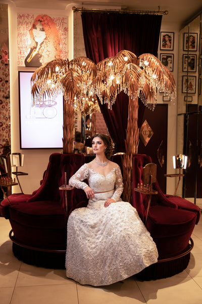 Ekta Solanki Lengha ~ White Lace Crystal and Pearl Beaded ~ WAS £5,850 NOW £1,950
