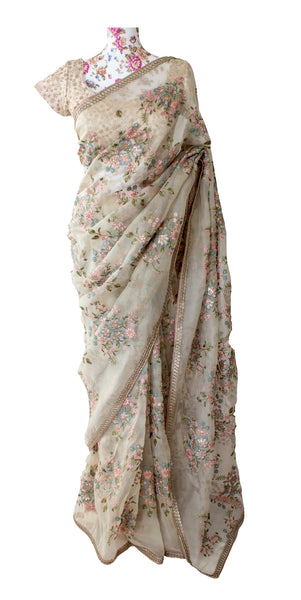 Ekta Solanki Saree and Blouse ~ Off White and Pink Floral Organza ~ WAS £725 NOW £385