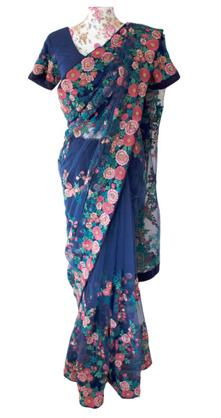 Ekta Solanki Saree and Blouse ~ Navy Blue and Floral Pink Thread Work Net ~ WAS £845 NOW £225