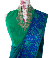 Ekta Solanki Saree and Blouse ~ Electric Blue and Green Crepe and Satin ~ WAS £355 NOW £185