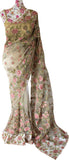 Ekta Solanki Saree and Blouse ~ Nude Pink Floral Embroidered Net ~ £2,450 Pre-Order