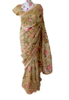 Ekta Solanki Saree and Blouse ~ Pale Peach and Pink Floral Organza ~ WAS £695 NOW £375