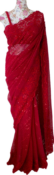 Ekta Solanki Saree and Blouse ~ Ruby Red Lace Beaded Net ~ WAS £2,450 NOW £1,250