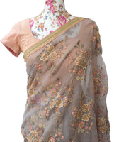 Ekta Solanki Saree and Blouse ~ Grey and Peach Floral Organza ~ WAS £695 NOW £355