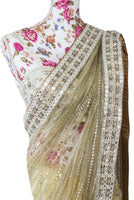 Ekta Solanki Saree and Blouse ~ Nude and Gold Net Crystal Trail Pallu ~ WAS £2,250 NOW £720