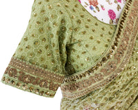Ekta Solanki Saree and Blouse ~ Pistachio Green Gold Sequins Net ~ WAS £1,200 NOW £360