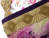 Ekta Solanki Saree and Blouse ~ Purple Floral Printed Antique Gold Chanderi ~ WAS £530 NOW £180