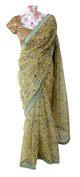 Ekta Solanki Saree and Blouse ~ Yellow Floral Printed Organza ~ WAS £425 NOW £185