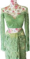Ekta Solanki Saree and Blouse ~ Apple Green Lace Beaded Net ~ WAS £2,450 NOW £850