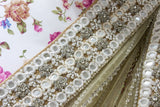 Ekta Solanki Saree and Blouse ~ Nude and Gold Net Crystal Trail Pallu ~ WAS £2,250 NOW £540