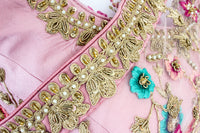 Ekta Solanki Saree and Blouse ~ Blush Pink Floral Embroidered Net ~ WAS £2,450 NOW £850