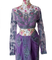 Ekta Solanki Saree and Blouse ~ Lilac and Purple Lace Beaded Net ~ WAS £1,250 NOW £450
