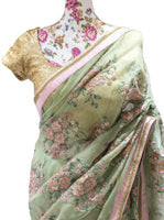 Ekta Solanki Saree and Blouse ~ Pistachio Green and Pink Floral Organza ~ WAS £710 NOW £345