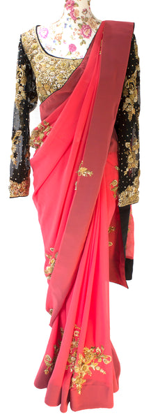 Ekta Solanki Saree and Blouse ~ Coral and Black Crepe ~ WAS £785 NOW £135