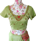 Ekta Solanki Saree and Blouse ~ Pistachio Green and Pink Art Silk ~ WAS £1,250 NOW £320