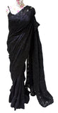 Ekta Solanki Saree and Blouse ~ Black Beaded Pure Crepe and Sheer Net ~ WAS £2,550 NOW £900
