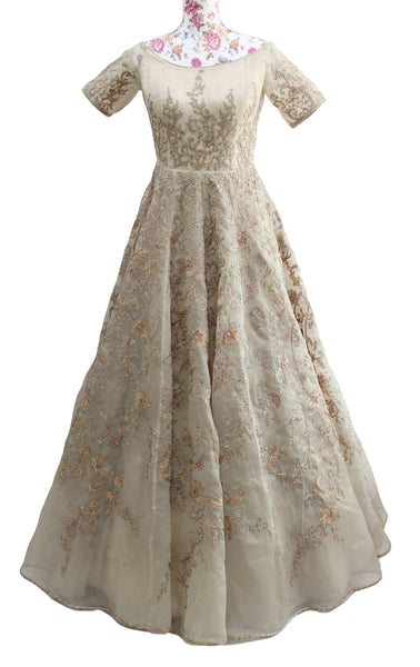Ekta Solanki Dress ~ Beige Gold Organza Crystal ~ WAS £2,250 NOW £355
