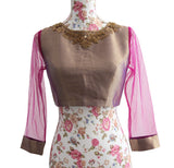 Ekta Solanki Saree Blouse ~ Purple Gold Silk Brocade Beaded ~ WAS £120 NOW £25