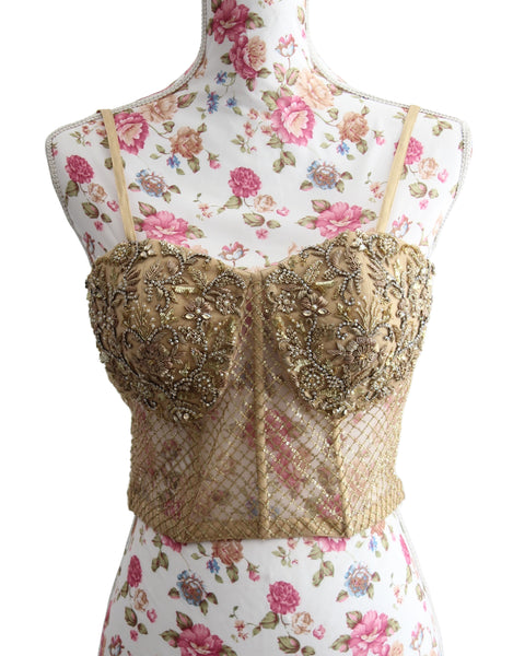 Ekta Solanki Saree Blouse ~ Sheer Gold Beaded Corset ~ WAS £385 NOW £185