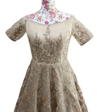 Ekta Solanki Dress ~ Beige Gold Organza Crystal ~ WAS £2,250 NOW £375