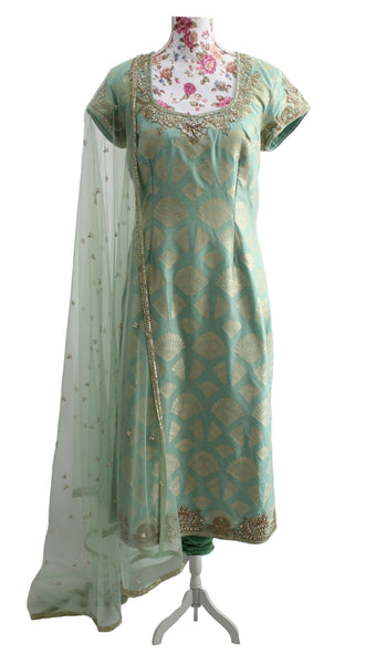 Ekta Solanki Suit ~ Peppermint Green Pearl Silk Banarsi  ~ WAS £620 NOW £200