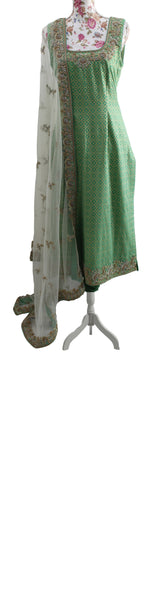 Ekta Solanki Suit ~ Parakeet Green Silk Banarsi  ~ WAS £540 NOW £180