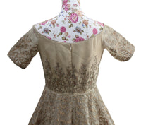 Ekta Solanki Dress ~ Beige Gold Organza Crystal ~ WAS £2,250 NOW £275