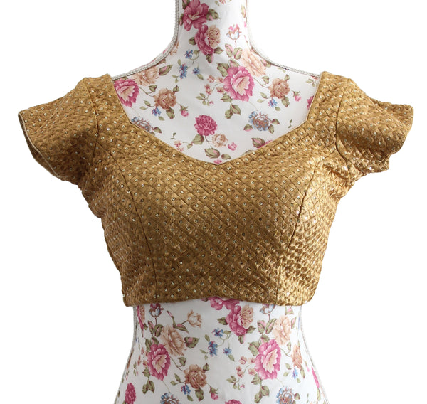 Ekta Solanki Saree Blouse ~ Gold Diamond Design Sequin ~ WAS £70 NOW £30