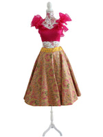 Ekta Solanki Lengha ~ Yellow and Pink Floral Banarsi  ~ WAS £680 NOW £320