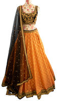 Ekta Solanki Lengha ~ Coral Woven & Black Velvet ~ WAS £1,950 NOW £530
